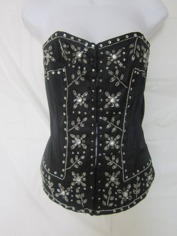 Black Bustier with Silver Sequins and Beaded Decoration