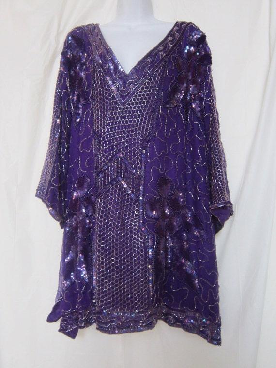 Silk Vintage Purple Beaded Sequin Top/Dress