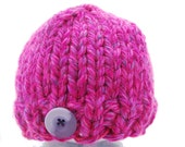 Raspberry Colored Knitted Beanie Baby Girl Newborn size hat. Knit with Super Bulky Yarn.