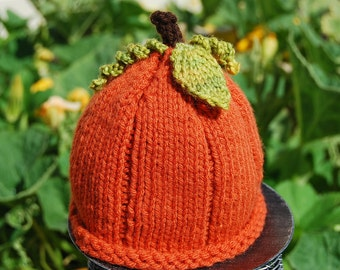 Knitted Rustic Burnt Orange Pumpkin beanie Hat with Knit Curly leaves Newborn Baby or Child Kids Toddler Size