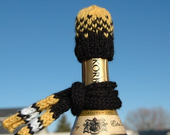 Black Gold & White Football beanie Hat Knit Wine or Beer Bottle Cover Cozy Topper Knitted Scarf. Christmas Gift Idea
