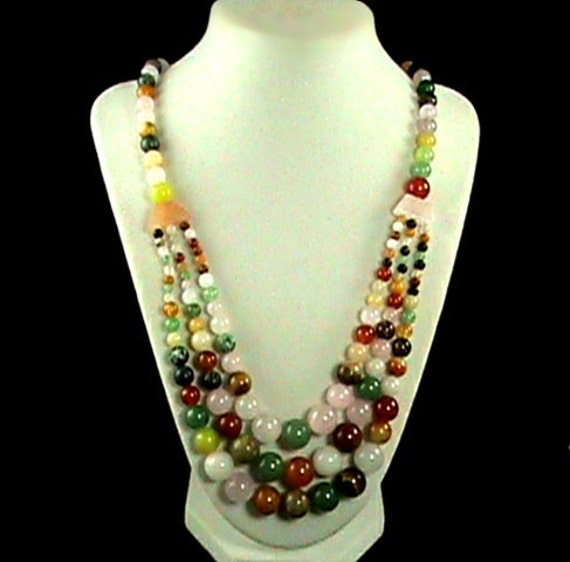 Sweet Gumball Multiple Gemstone Necklace, Therapeutic Gems, Carnival of Colors Gemstone Necklace