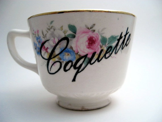 Teacup - French - Painted Vintage Tea Cup - Coquette - Gift Under 10