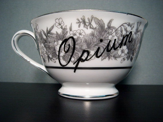 Tea cup - Hand Painted Tea Cup - Opium