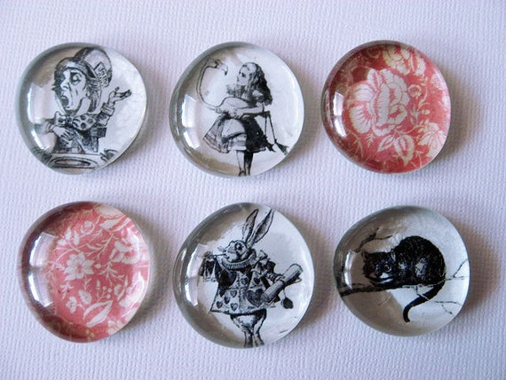 Magnets - Marble Magnets -Devilish Details - Alice in Wonderland