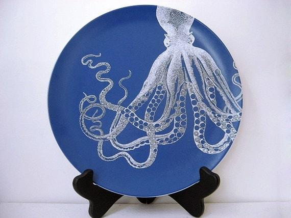 Octopus - Melamine Plate - Dinnerware - Ocean - Gift Under 20