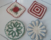Lovely And Functional...Four Vintage Crocheted Pot Holders