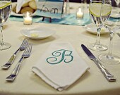 12 White, Cream or yellow Dinner Napkin with Embroidered Initial