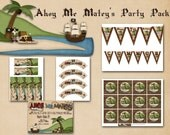Ahoy Me Matey's Party Pack - Banner, Bookmarks, Cupcake Toppers, Cupcake Wrappers, Pirate Birthday Party