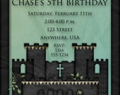 "Legend of Zelda Inspired Birthday Party Invitation - ""ONE-OF-A-KIND"" Link, Castle, Boy"