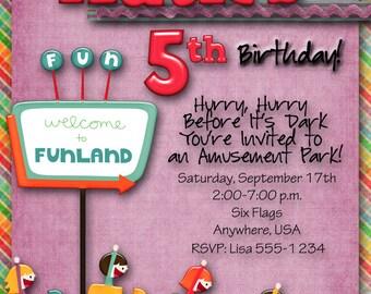 Amusement Park Birthday Party Invitation. Custom, Boy, Girl, Carnival