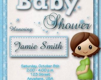 Baby Shower Invitation - Boy, Blue, Custom, Baby Announcement