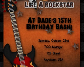 Rock Star Birthday Party Invitation, Boy, Girl, Guitar Hero, Rock Band