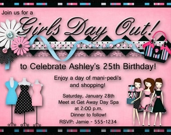 Girls Day Out - Birthday Party Invitation, Bachelorette, Bridal Shower
