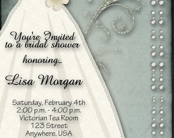 Bridal Shower Invitation - Blue, Dress, Flowers