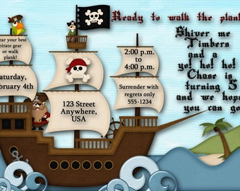 Pirate Ship Birthday Party Invitation