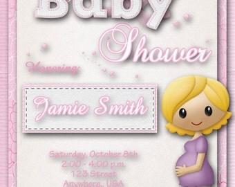 Baby Shower Invitation - Girl, Pink, Custom, Baby Announcement