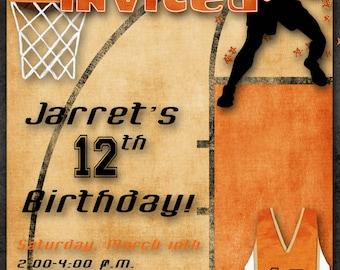 Basketball Birthday Party Invitation - Orange