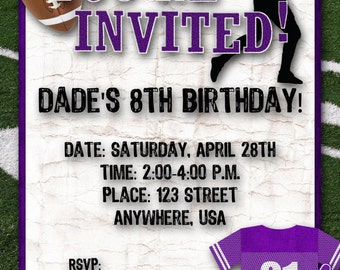 Football Birthday Party Invitation - Purple