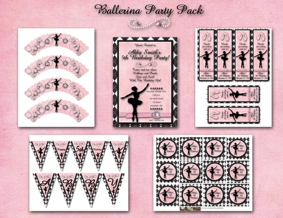 Ballerina Birthday Party Pack - Invitation, Banner, Cupcake Wrapper, Cupcake Topperss, Thank you Bookmarks