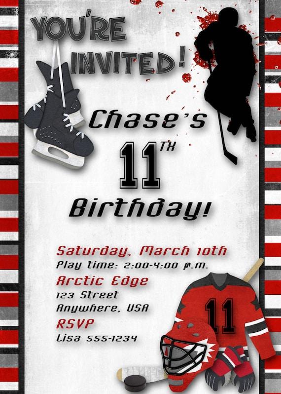 hockey birthday party invitation red by decidedlydigital on etsy