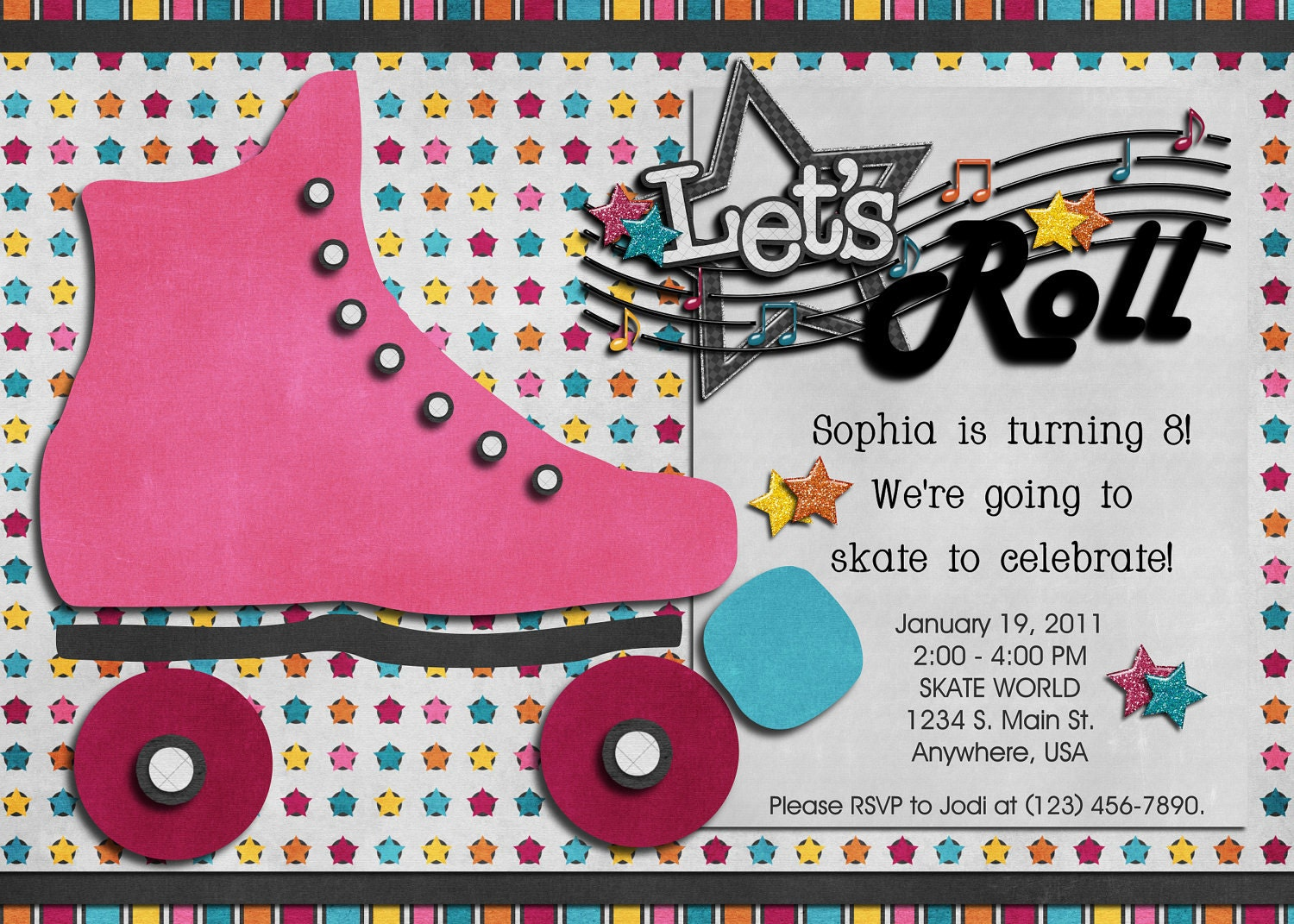 Roller Skating Birthday Digital Invitation Skate 80\'s