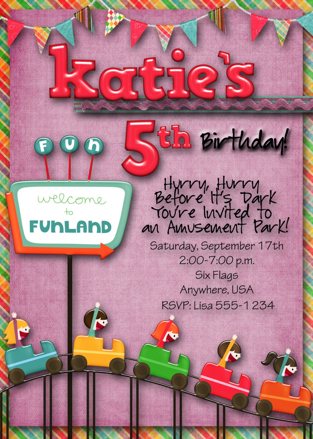 Decorating Ideas > Amusement Park Birthday Party Invitation Custom Boy Girl ~ 211929_Birthday Party Ideas Park