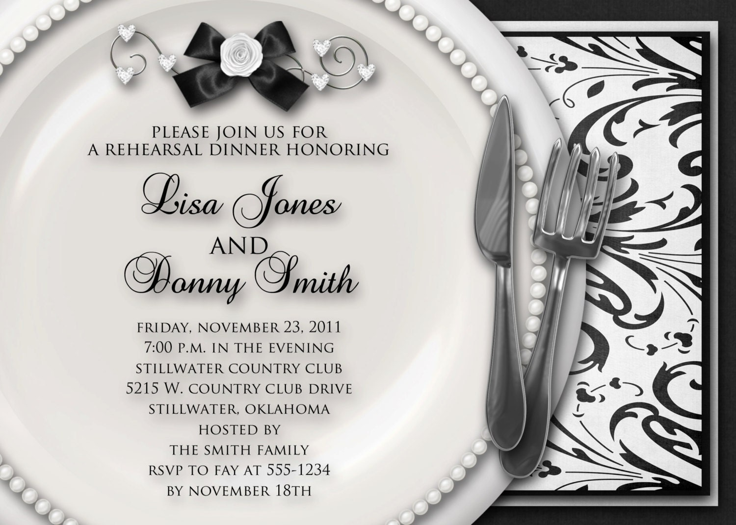 Who Is Invited To The Wedding Rehearsal Dinner: Wedding Rehearsal Dinner Invitation Black & By
