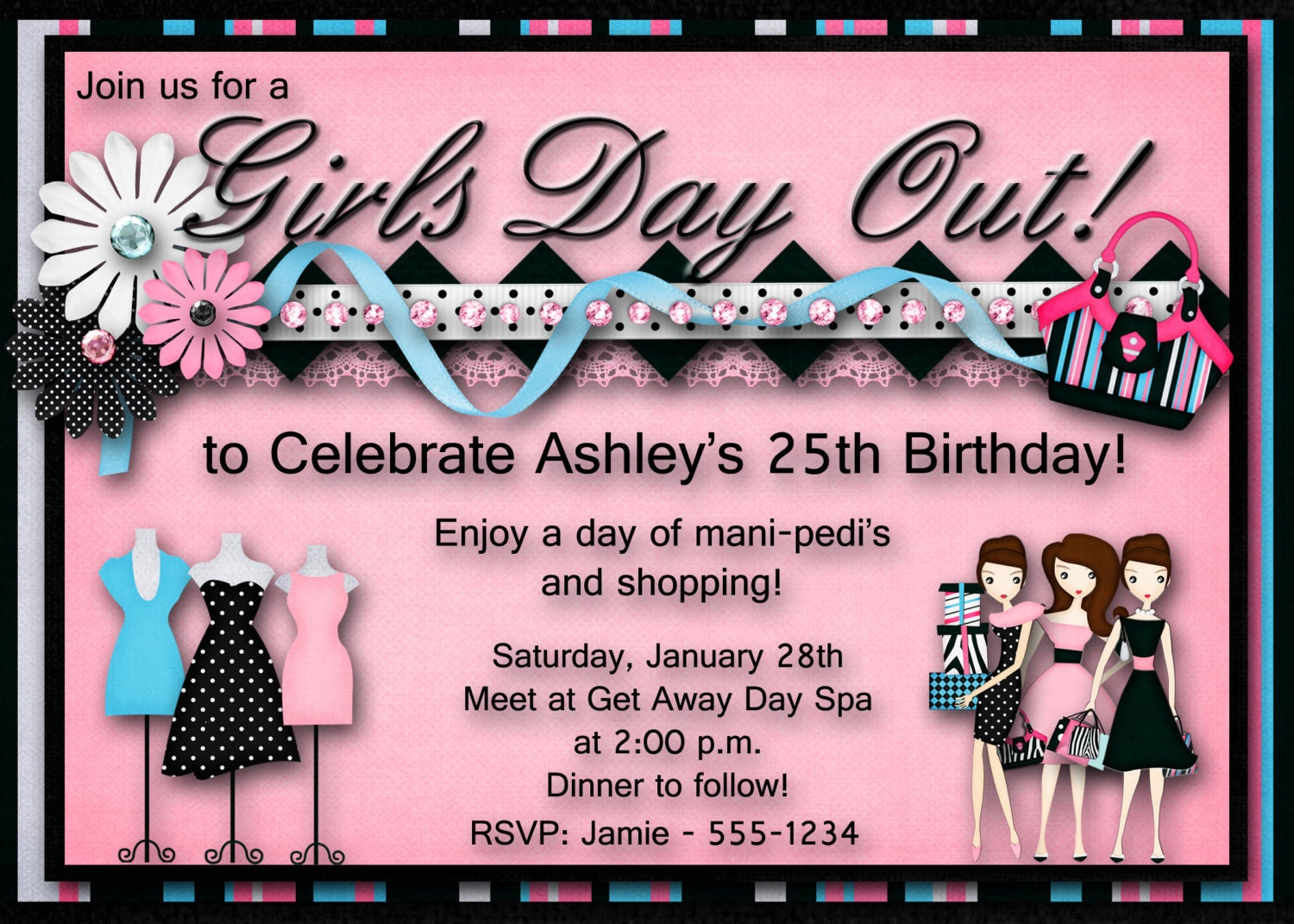 Girls Day Out Birthday Party Invitation Bachelorette