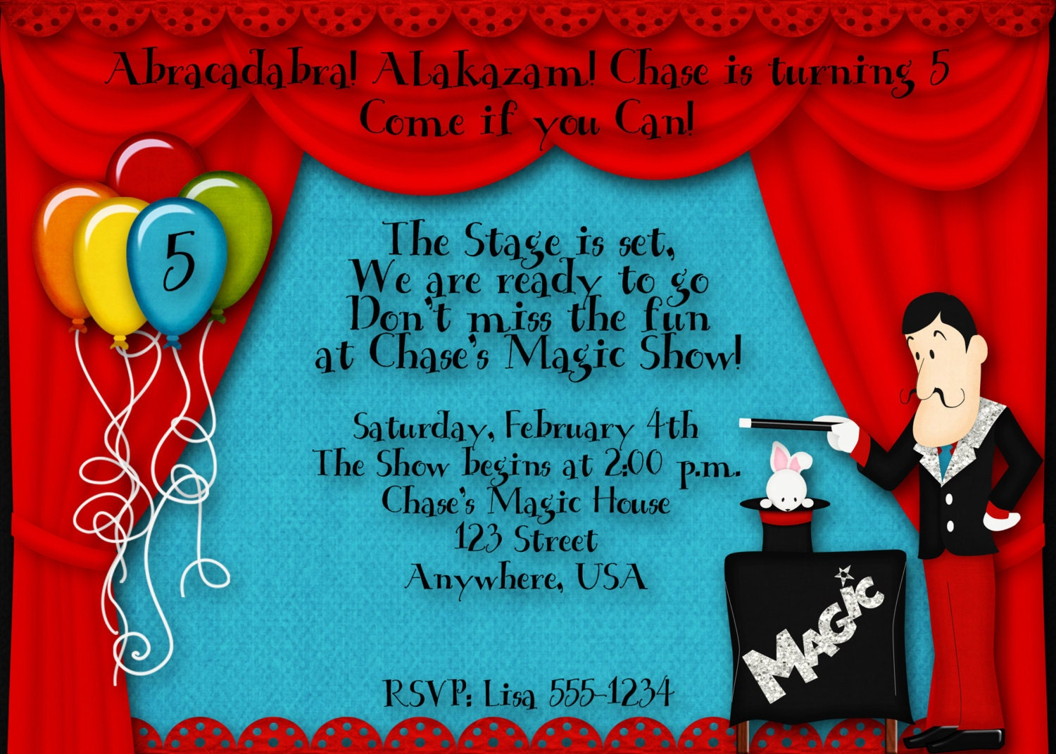 Magic Birthday Party Invitation – Magic Party Invitations