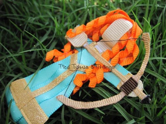 Merida Brave Orange Princess with bow and arrow hair clip
