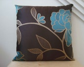 """A lovely 16""""x16"""" decorative pillow cover with teal and gold embroidery"""