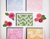 Floral Series Laser Cut Paper Cards - Set of Five