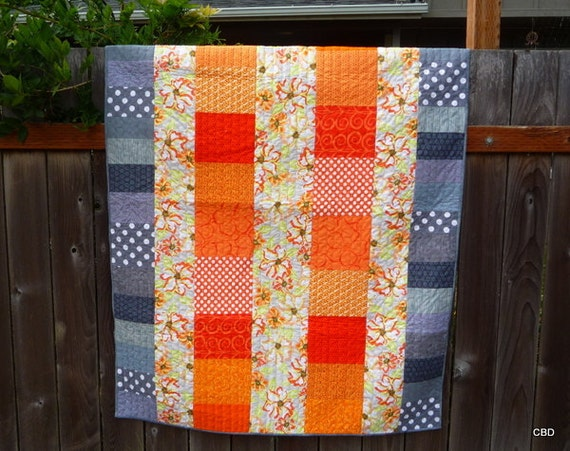 Modern Quilt in Orange and Gray
