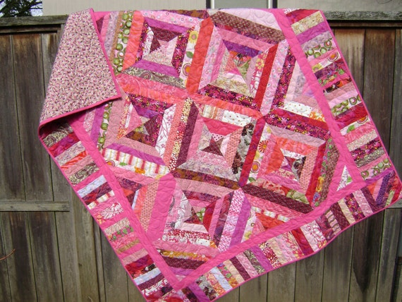 Pretty in Pink string patchwork quilt - Handmade Abstract Geometric Lap Quilt