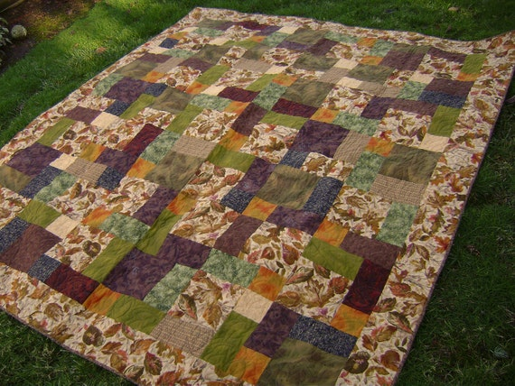 Queen Bed Quilt in Lovely Fall colors - Handmade Patchwork in Brown, Green, Tan, Gold, Rust Leaves