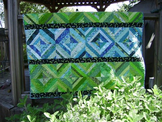Fun Lap Size String Quilt in Lime Green and Turquoise with black accents and Dragonflies - Handmade Blanket