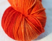 "Kettle Dyed Sock Yarn, Superwash Merino, Cashmere and Nylon Fingering Weight, in ""Tequila Sunrise"""