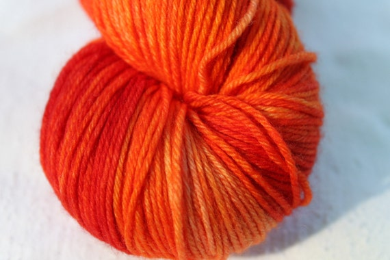 """Kettle Dyed Sock Yarn, Superwash Merino, Cashmere and Nylon Fingering Weight, in """"Tequila Sunrise"""""""