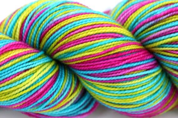 "Self Striping Sock Yarn, Superwash Merino and Nylon Fingering Weight, in ""Carousel"""