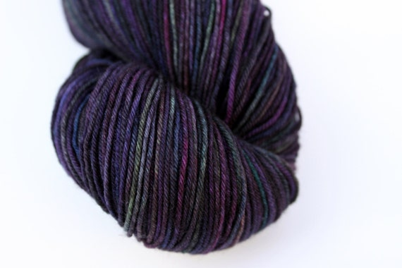 "Kettle Dyed Sock Yarn, Superwash Merino and Nylon 75/25 Fingering Weight, in ""Vineyard at Dusk"""