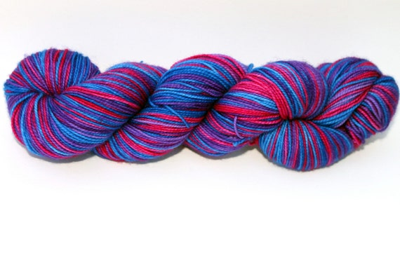 """Self Striping Sock Yarn, Superwash Merino and Nylon Fingering Weight, in """"Bachelor's Buttons"""""""