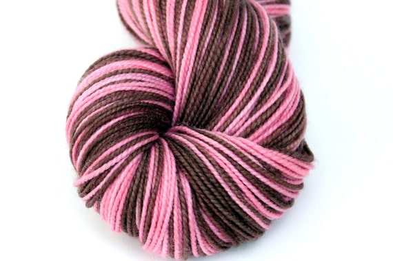"Self Striping Sock Yarn, Superwash Merino and Nylon Fingering Weight, in ""Dogwood"""
