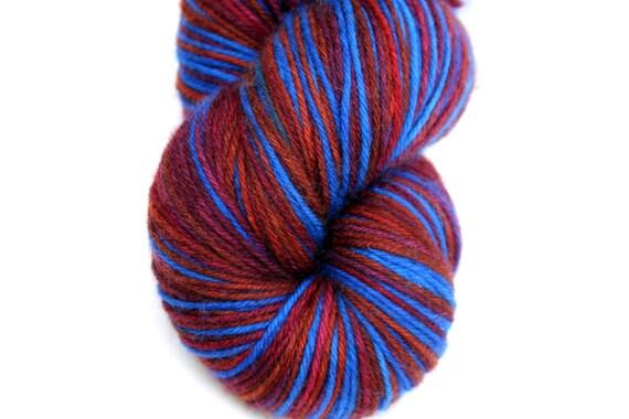 "Self Striping Sock Yarn, Superwash Merino, Cashmere and Nylon Fingering Weight, in ""Plaid"""