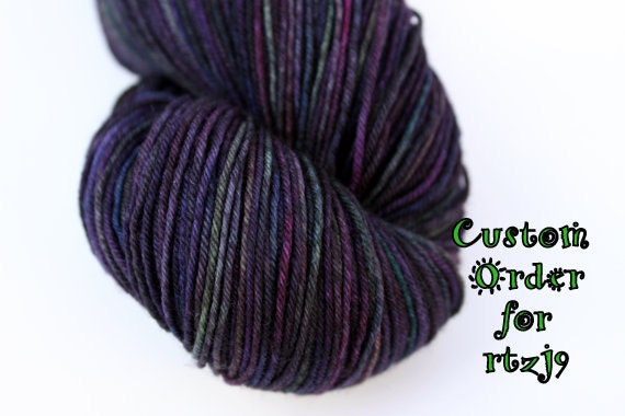 """Custom Order for rtzj9: Kettle Dyed Sock Yarn, Superwash Merino and Nylon 75/25 Fingering Weight, in """"Vineyard at Dusk"""""""