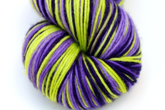 "Self Striping Sock Yarn, Superwash Merino, Cashmere and Nylon Fingering Weight, in ""Primula Auricula"""