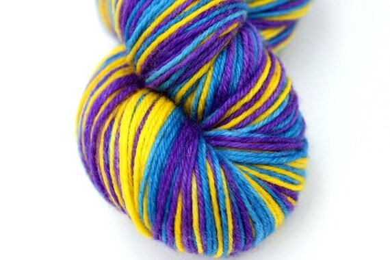 "Self Striping Sock Yarn, Superwash Merino, Cashmere and Nylon Fingering Weight, in ""Pansy"""