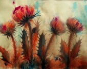 Bright Colorful - Thistles - Original Mixed Media Painting - 12 x 19