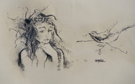 Aerie - Bird Nest Twig Branch Fairy - Original Artwork - Charcoal Drawing