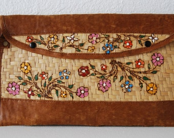 Vintage Clutch Hand Painted Straw